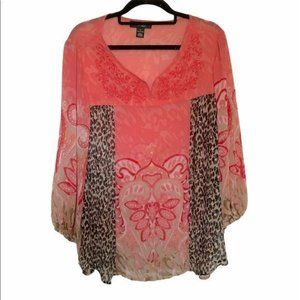 Style & Co paisley pink blouse 1X